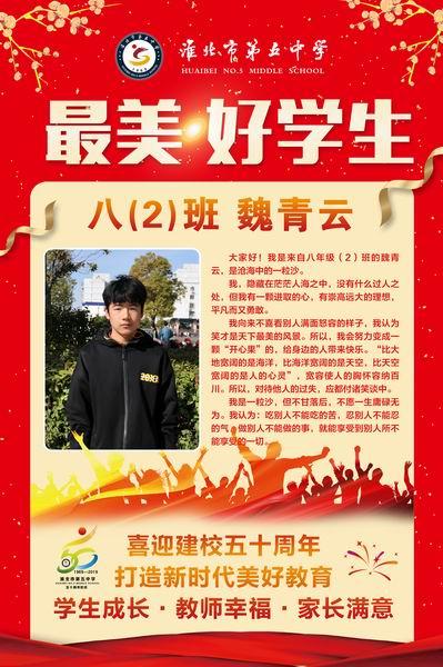 最美好学生:八(2)班  魏青云